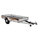 Släpvagn, totalvikt 1300 kg, bromsad